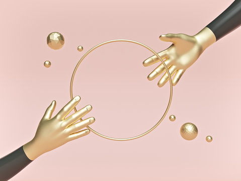 abstract minimal background, mannequin hands with round ring on pastel background. fashion mockup. 3d rendering