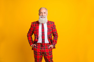 Portrait of his he nice attractive cheerful cheery content gray-haired man wearing checked jacket newyear festive isolated over bright vivid shine vibrant yellow color background