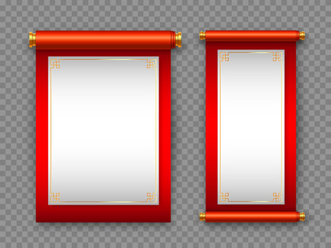 Chinese scrolls in traditional style on transparent background. Decorative elements for Chinese holidays with copy space. Vector illustration.