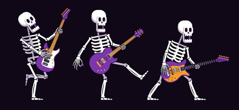 Skeleton with an electric guitar plays rock music in various poses. Cartoon skeleton guitarist. Vector illustration.