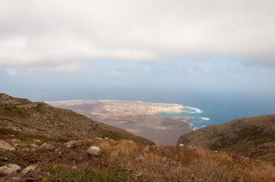 Coast of Mindelo and Baia das Gatas from the mountains (Sao Vicente Island, Cape Verde)