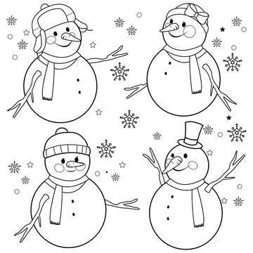 Snowmen with winter hats and scarves. Vector black and white coloring page