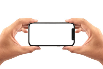 take a photo with smartphone isolated on white