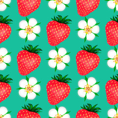 Strawberry watercolor seamless pattern. Watercolor illustration with colorful strawberries. Seamless watercolor pattern for print design. Colorful wallpaper. Isolated illustration. White isolated