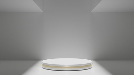 3D Rendering of minimal white podium in empty cement room. For modern product showcase display.