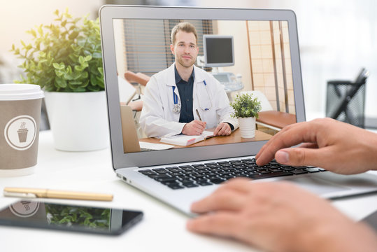 Doctor with a stethoscope. Telemedicine concept