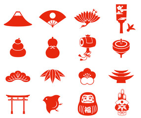 Japanese New Year icons RED