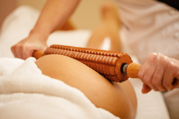 Close-up of anti cellulite massage at the spa.