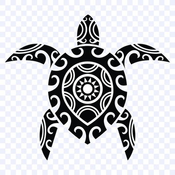 turtle tribal polynesian design pattern, isolated vector shape