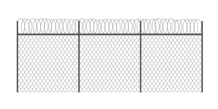 Realistic metal chain link fence