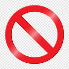 Prohibiting sign. Icon with red crossed circle