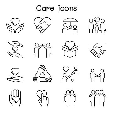Care, Kindness, Generous icon set in thin line style