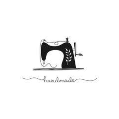 Hand-drawn sewing machine, vintage, needlework, seamstress, handmade. Black-white vector illustration in cartoon style. Isolated illustration on a white background.
