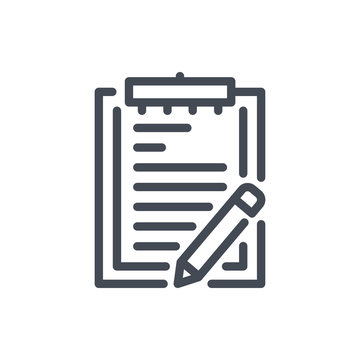 Clipboard with pencil line icon. Plan and task vector outline sign.