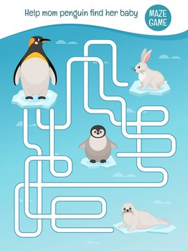 Maze game for children. Help mom penguin find your baby