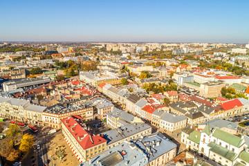 Krajobraz Lublina widziany z lotu ptaka. Ulica Krakowskie Przedmieście i Plac Litewski widziane z powietrza.