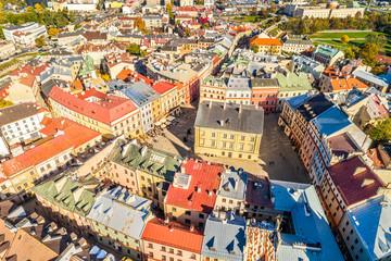 Lublin z lotu ptaka - Stary Trybunał Koronny.  Stare miasto widziane z powietrza.