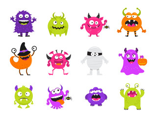 Cute Scary Halloween Monsters Vector Icon Set