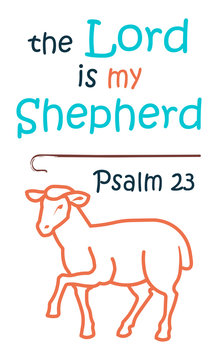 Lettering the Lord is my shepherd, made in the form of funny sheep with a bell. Biblical background. Christian poster. Psalm. Sunday school. Children's Ministry. Card.
