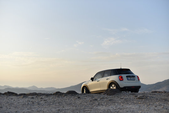 Bodrum / Turkey - 10.11.19: Test drive of Mini Cooper D in by offroad