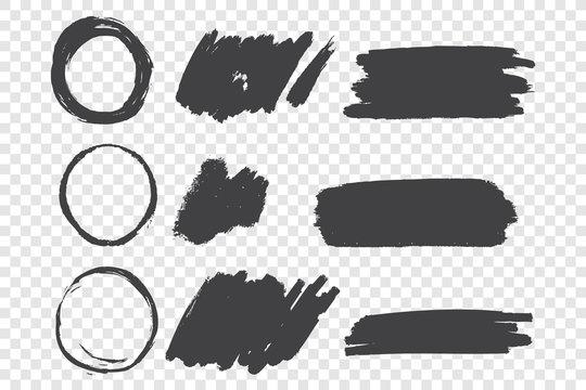 Black paint scribble hand drawn doodles set