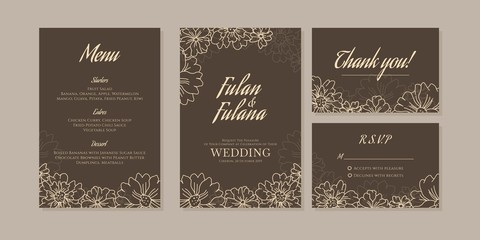 outline wedding invitation card set traditional retro rustic vintage modern abstract doodle hand drawn floral and beauty flower background template mockup ornament gold colorful vector illustration