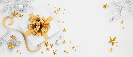 White Gift Box with golden Bow on white Background - 3D illustration