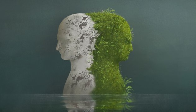 Surreal contrast emotions concept, broken human head sculpture and nature human head in water, fantasy illustration, freedom hope mind
