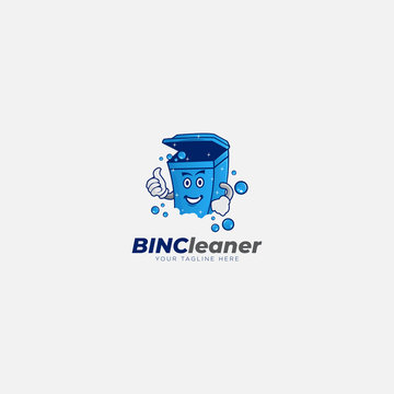 Bin cleaner logo design with character and bulb logo recycle