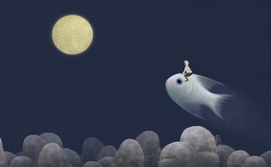 Boy riding cute giant fish to the moon ,fantasy painting, surreal illustration, imagination concept, hope