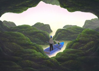 Fantasy adventure scene man and his dog on aboat with the sea cave, freedom concept