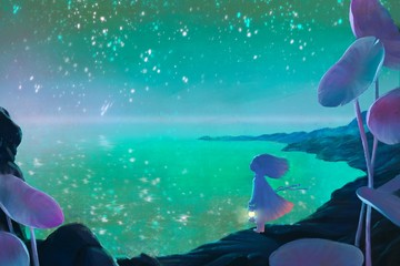 Alone little girl holding lantern in fantasy seascape and starry night sky, hope concept