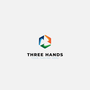 three hands abstract logo designs hexagonal