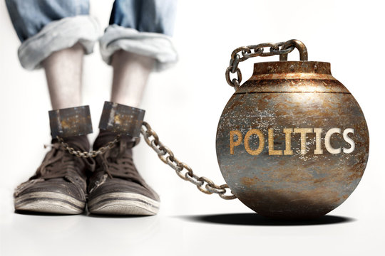 Politics can be a big weight and a burden with negative influence - Politics role and impact symbolized by a heavy prisoner's weight attached to a person, 3d illustration