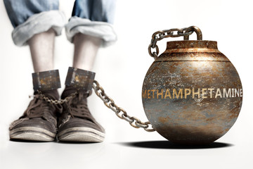 Methamphetamine can be a big weight and a burden with negative influence - Methamphetamine role and impact symbolized by a heavy prisoner's weight attached to a person, 3d illustration