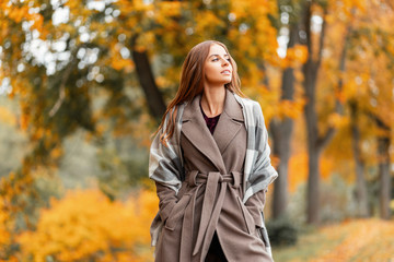 Elegant beautiful young woman in a fashionable long coat with a stylish knitted scarf stands in the park and enjoys the autumn scenery. Trendy girl model walks through the woods outside the city. Fototapete