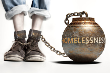 Homelessness can be a big weight and a burden with negative influence - Homelessness role and impact symbolized by a heavy prisoner's weight attached to a person, 3d illustration