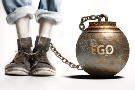 Ego can be a big weight and a burden with negative influence - Ego role and impact symbolized by a heavy prisoner's weight attached to a person, 3d illustration