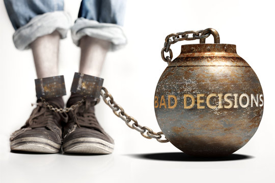Bad decisions can be a big weight and a burden with negative influence - Bad decisions role and impact symbolized by a heavy prisoner's weight attached to a person, 3d illustration