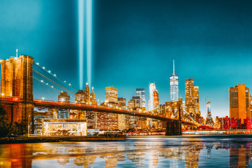 Canvas Prints Brooklyn Bridge New York night view of the Lower Manhattan and the Brooklyn Bridge across the East River.