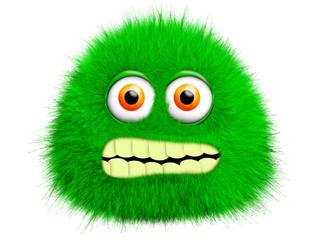 Green furry monster Fotobehang