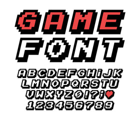 Pixel font vector letters set. Game design. Font of old games. 8 bit letters and numbers vector alphabet.