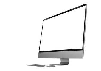 Computer blank screen isolated  on white background with mouse and keyboard