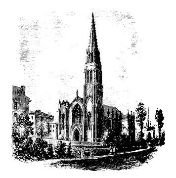 Church vintage illustration