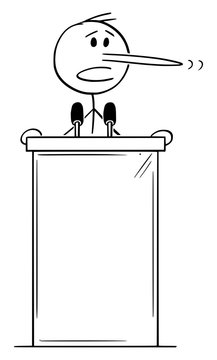 Vector cartoon stick figure drawing conceptual illustration of lying politician with long nose speaking on podium behind lectern.