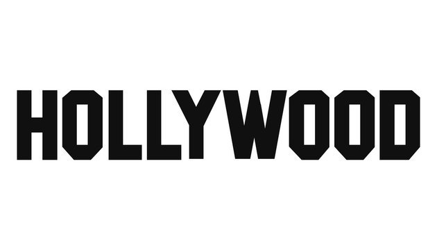 Hollywood text vector logo. Vector Illustration.