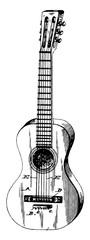 Nylon String Classical Guitar, vintage illustration.