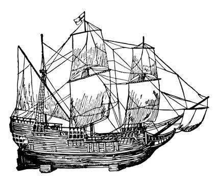 Mayflower vintage illustration