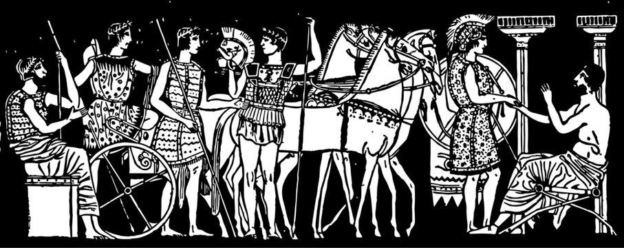 Scene from ancient Greece, vintage illustration.