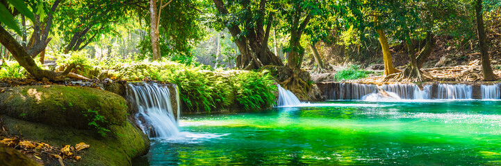 Poster Spring Wide panorama beautiful fresh green nature scenic landscape waterfall in deep tropical jungle rain forest, Famous landmark outdoor travel Saraburi Thailand, Spring background, Tourism destination Asia